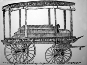 The Jesup Wagon, a prototype of which Carver used to bring his exhibits into the Tuskegee community. Illustration: Courtesy of Tuskegee University