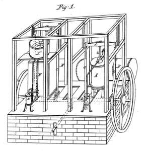 John Gorrie's famous, but also famously unfunded, ice machine: For the first time, a machine was producing cold air.