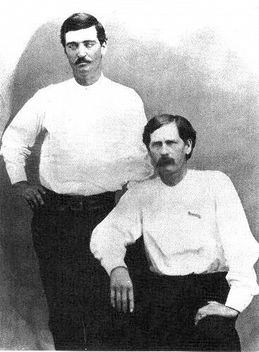 A photograph from 1876 of Bat Masterson, left, with Wyatt Earp.