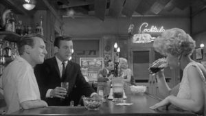 Bobby Darrin (left), Everett Chambers, and Stella Chambers in John Cassavetes' 1961 film Too Late Blues: Life in a city divided by night and day.